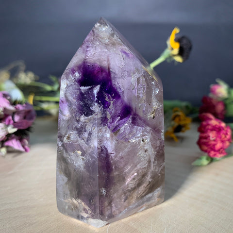 amethyst smoky quartz clear quartz tower