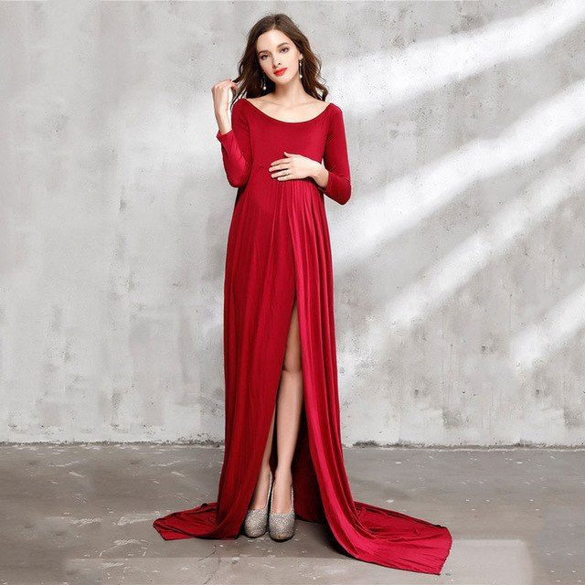 8b1a91b644c Bear Leader Maternity Dress 2018 New Spring Maternity Photography Props  Maternity Dress Solid High Split Design For Graceful Mom