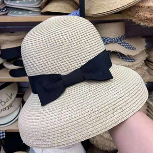28b4dbb2560b2a 2019 NEW Paper Straw Ribbon Bow Floppy Summer Hat Women Cloche Bucket Beach  Hat Ladies UV Sun Cap Ventilated Travel Derby Hat