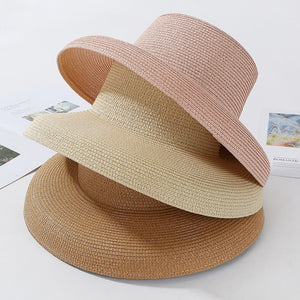 e78e0b3b66f2e8 HT2303 2019 New Summer Sun Hats Ladies Solid Plain Elegant Wide Brim Hat  Female Round Top Panama Floppy Straw Beach Hat Women