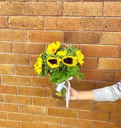 Yellow sun flower Bouquet - caringbahflowersgifts