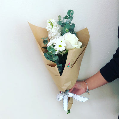 Funky white posy - caringbahflowersgifts