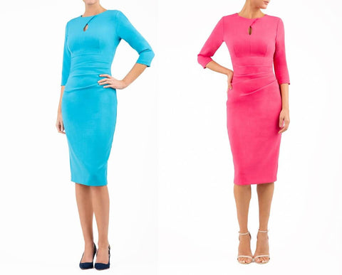 Ubrique Pencil Dress in cobalt blue and fuchia pink