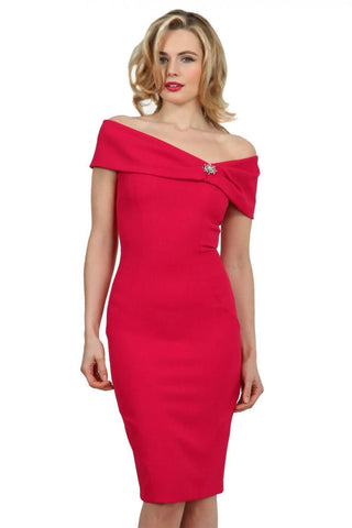 Perth Pencil Dress in raspberry pink