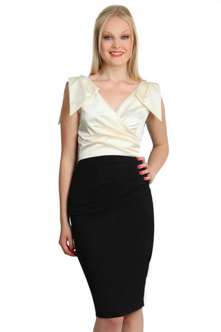 Broadway Satin Dress in Black & Gardenia Cream