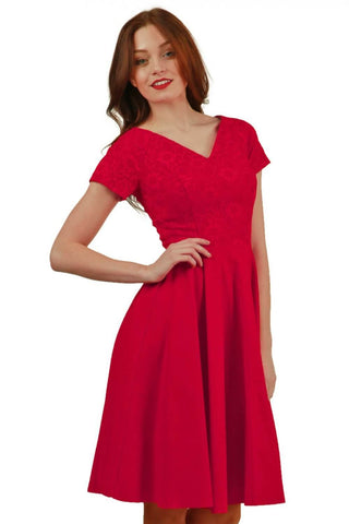 Abberton Lace Swing Dress in red lace