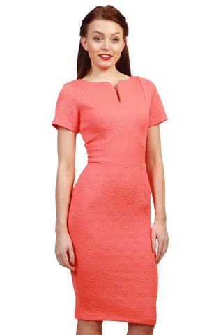 Ashfield Pencil Dress in Coral Pink