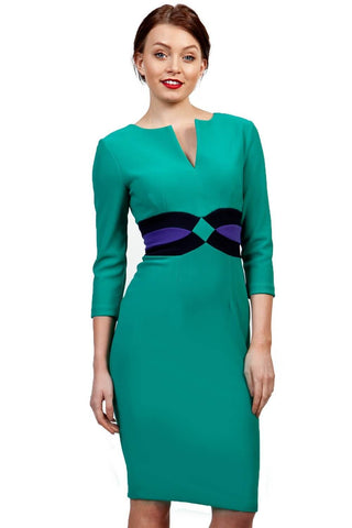 Jessica Colour Block Dress in Emerald Green, Navy Blue & Indigo Blue