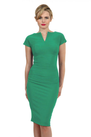 Bryony Sleeveless Pencil Dress in emerald green