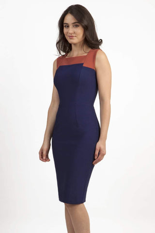 Chesham Contrast Dress in Navy & Marsalsa Brown
