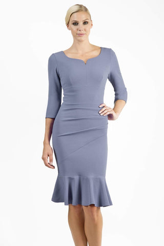 Howden 3/4 Sleeve Dress in stone blue