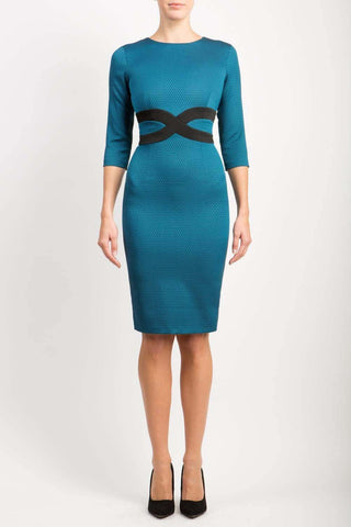 Antonia 3/4 Sleeve Dress in Diva Teal & Black