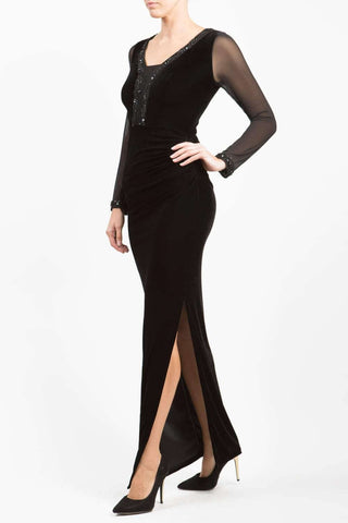 Isabella Velvet Dress in black