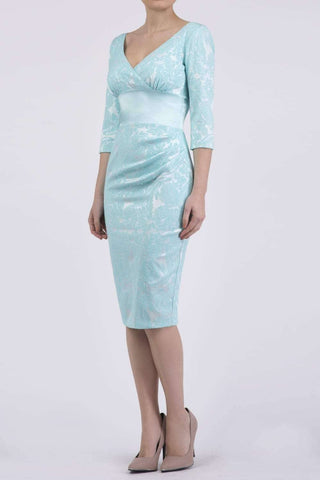 Stamford Satin Dress in Light Turquoise