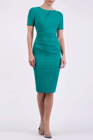Topaz Pencil Dress in Emerald green