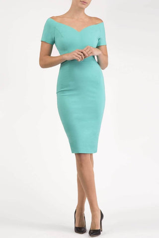 Abberton Pencil Dress in turquoise