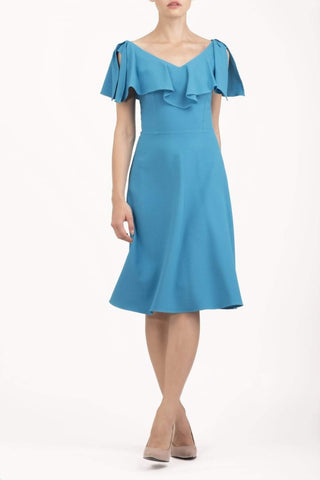 Layla Plain Dress in blue