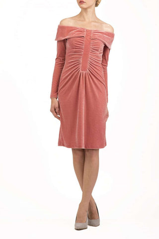 Isabelle Velvet Dress in Velvet Mahogany Pink