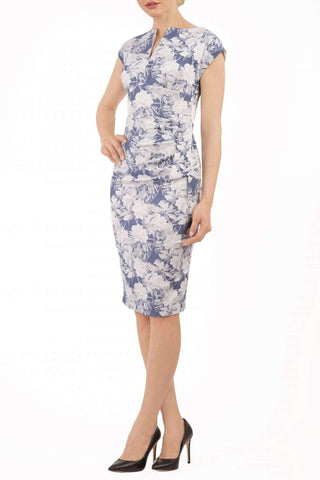 Ogle Floral Jacquard Dress in slate blue