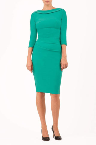 York Pencil Dress in Emerald Green