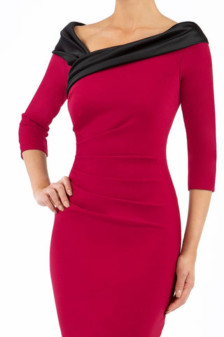 Felicity Pencil Dress in Beet Red and Black