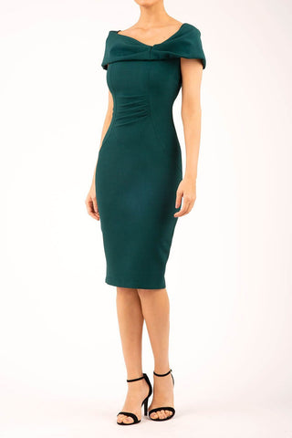 emerald green off the shoulder pencil dress
