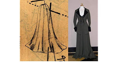 trumpet dress and drawing of skirt