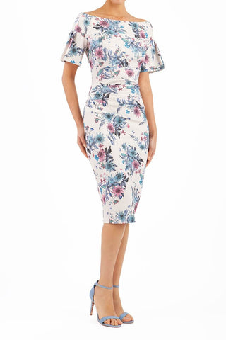 Mustique Botanical Print Dress in light blue