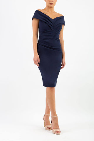 diva catwalk navy pencil dress of the shoulder