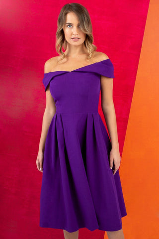 Chesterton Sleeveless Dress in deep purple