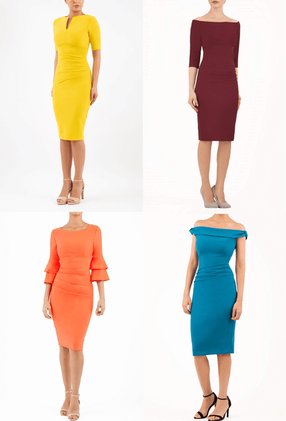4 Diva Catwalk pencil dresses perfect for winter colouring
