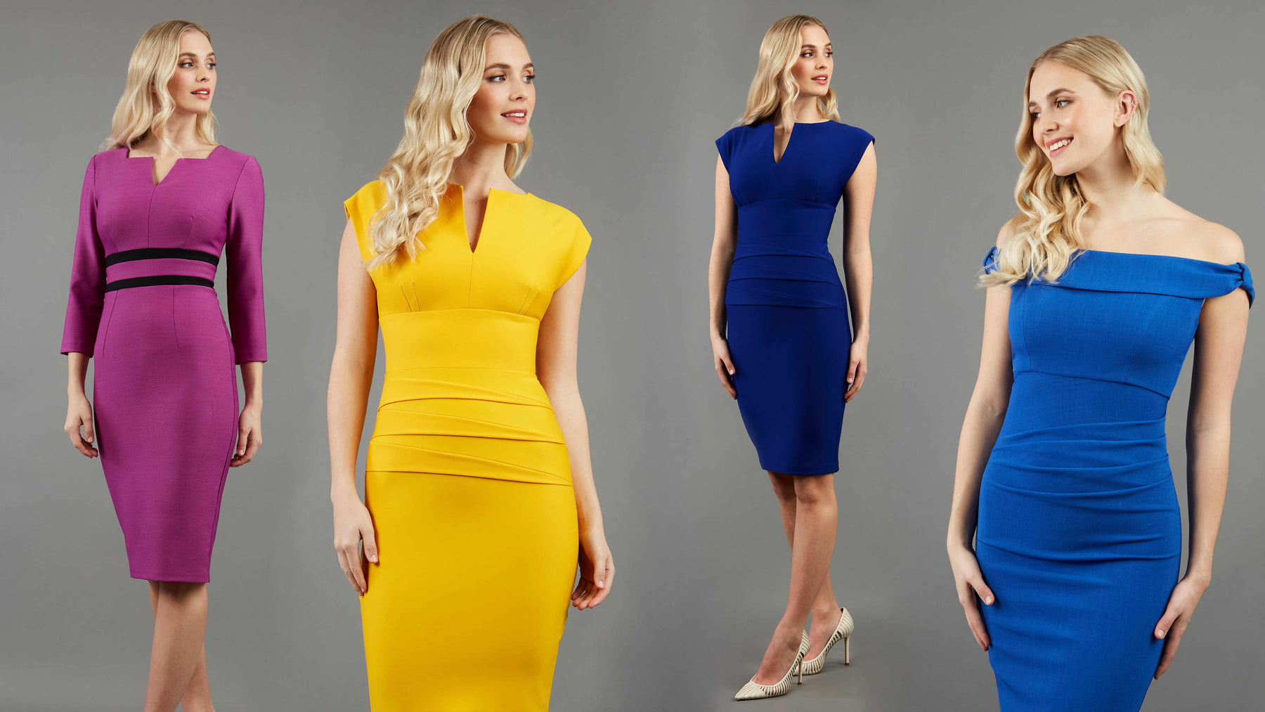 An image of blonde hair models wearing purple yellow navy and blue pencil dresses by diva catwalk, made in england UK