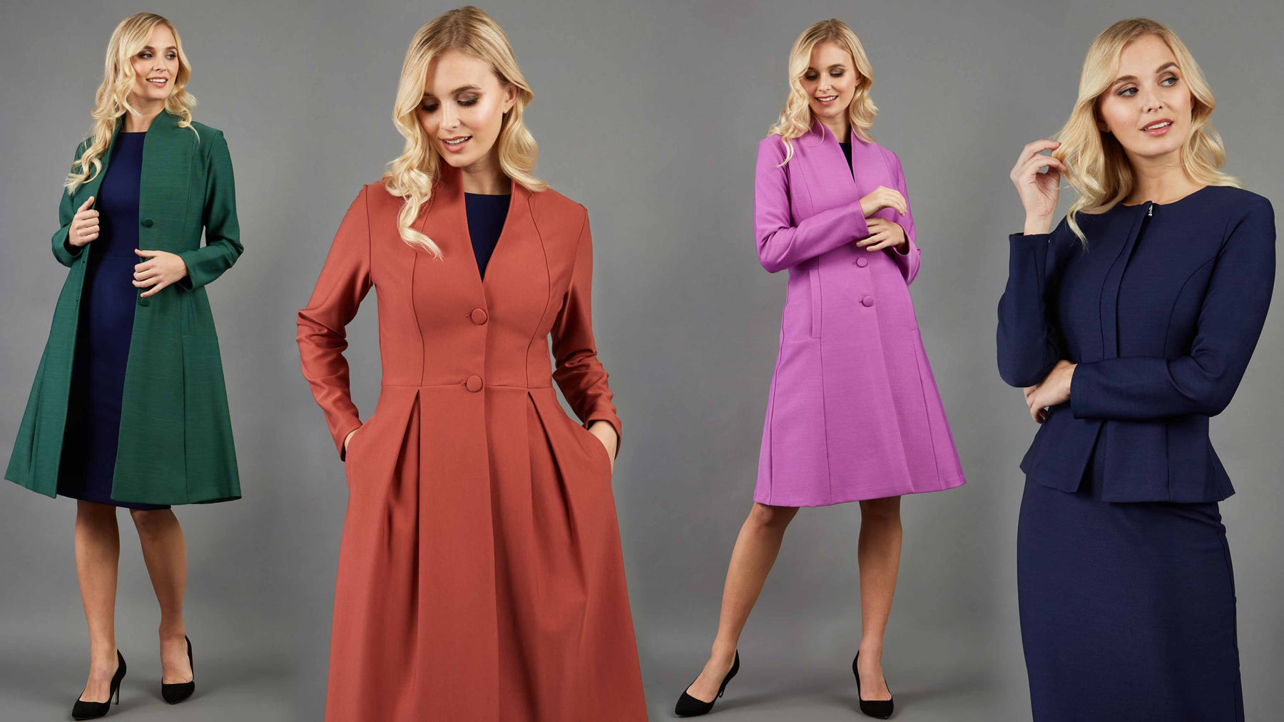 Blonde hair models are wearing green, brown, violet, navy coats and jackets by Diva Catwalk main banner offer discount up to 70% off sale banner