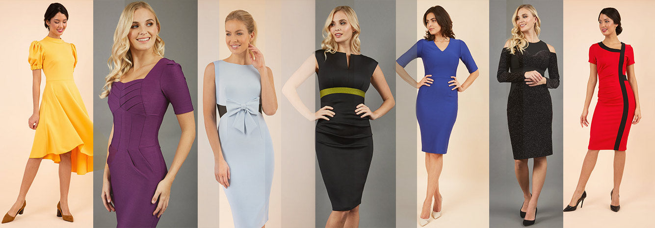 Diva Catwalk january sale banner shwoing models wearing pencil dresses made in UK. Yellow swing dress, purple couture stretch seed pencil dress, light blue contrast pencil dress with a bow, black sleeveless pencil dress, blue vneck short sleeve dress