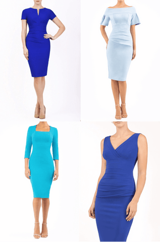 blue pencil dresses