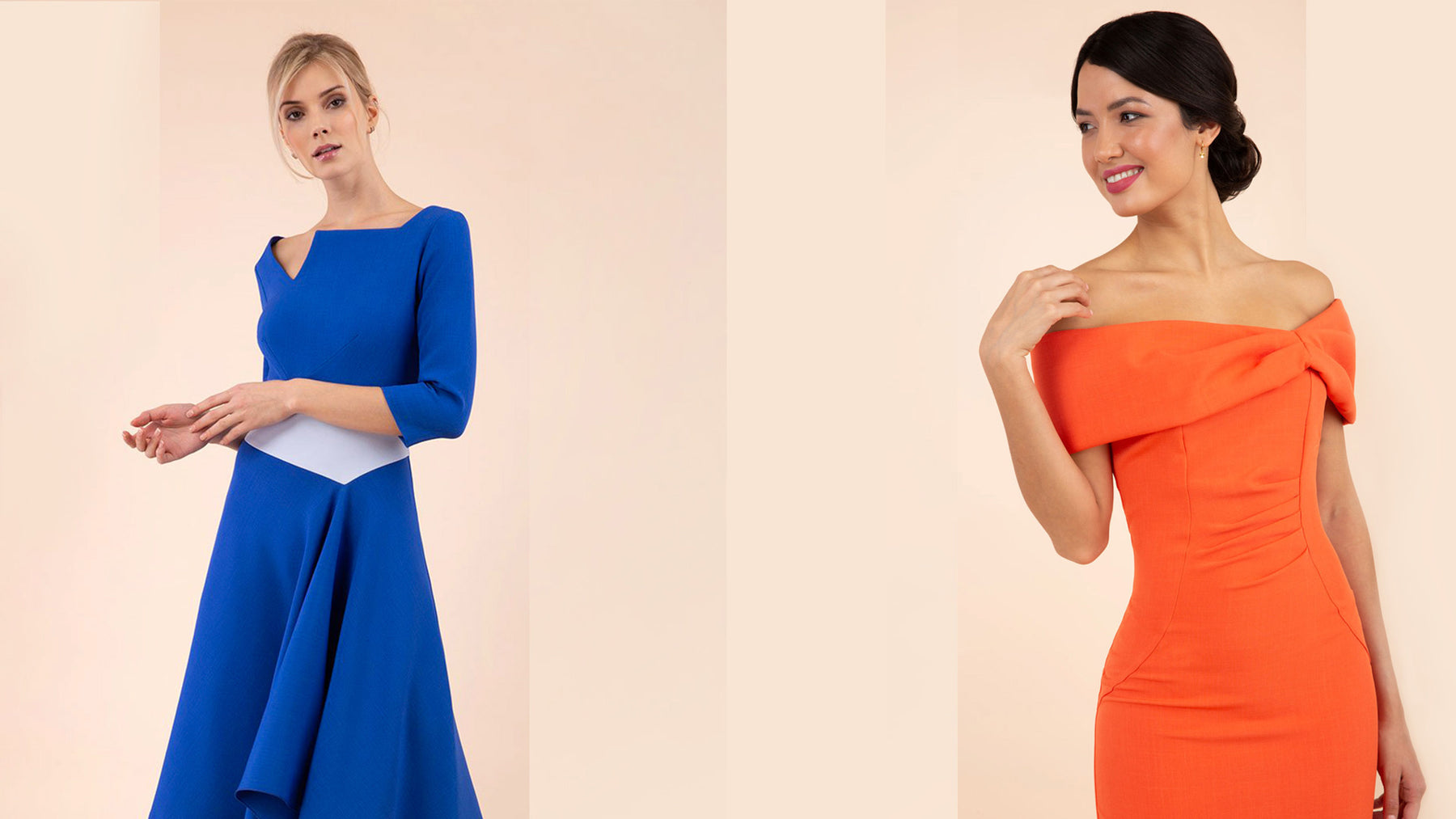 Image of two models wearing Diva Dresses, one wearing an asymmetric colour blocked long sleeve swing dress & the other wearing and off the shoulder pleated detail sheath pencil dress in orange