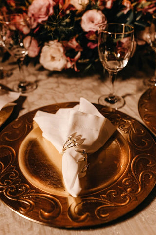 table setting, gold plate
