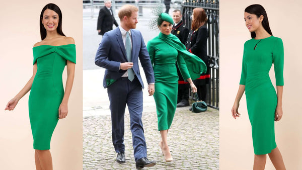 Two emerald green Diva Catwalk pencil dresses and an image of Meghan Markle