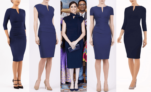 4 diva catwalk pencil dresses in navy and a photo of meghan markle in similar pencil dress