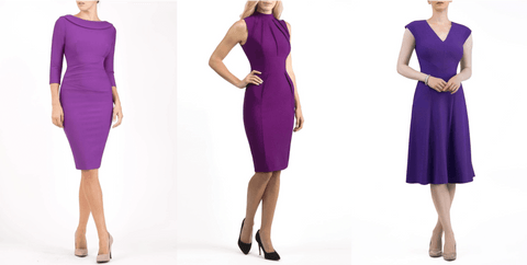 three deep purple mother of the bride dresses
