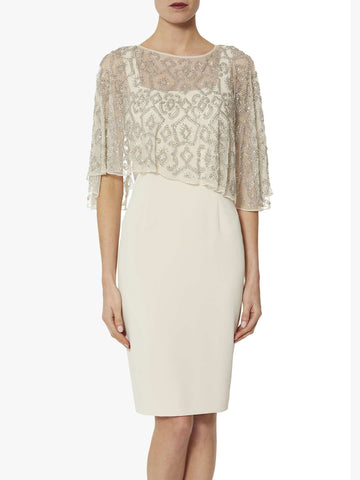 Gina Bacconi Ledora Crepe Dress With Beaded Cape, Neutral