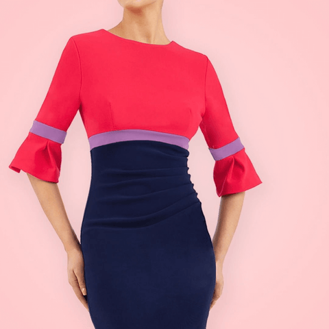 Reggie Colour Block Dress in Navy and Raspberry pink