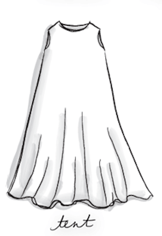 drawing of a tent style dress