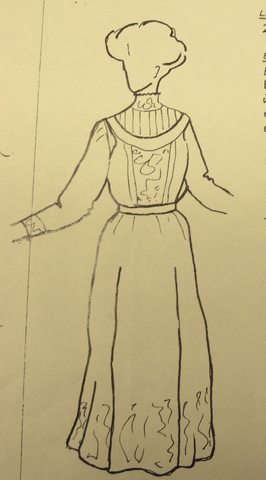 drawing of a woman wearing a tea length dress