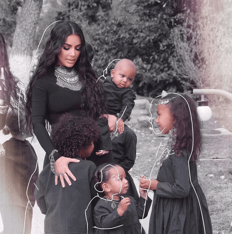 Kim Kardashian with family in photograph