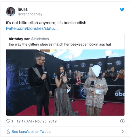 twitter reacts to Billie Eilish's American Music Awards Outfit