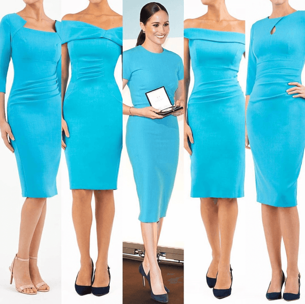 Blue diva catwalk pencil dresses and an image of pencil markle in a blue pencil dress