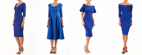 four cobalt blue diva catwalk dresses
