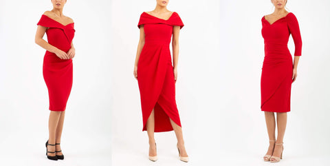 three dresses, primary red colour. two pencil dresses one midi