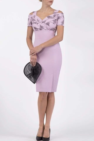 Amorette Pencil Dress in dawn pink fern